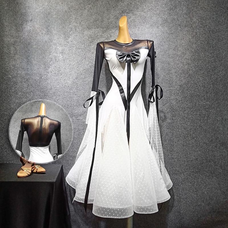 Luxury Feather Skirt Modern Latin Ballroom Skirts Long-sleeved Dress Ballroom