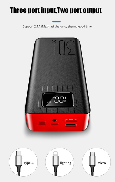 50000mAh Power Bank TypeC Micro USB QC Fast Charging Powerbank LED Display Portable External Battery Charger 2