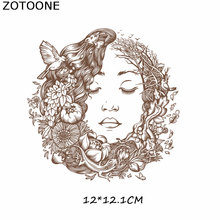 ZOTOONE Fashion Girl Iron-On  T-shirt Thermal Transfers Vynil Heat Transfer Ironing Stickers Patches For Clothing Iron