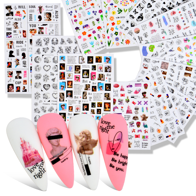 2021 NEW Nail Sticker Women Face Sketch Abstract Image Sexy Girl Nail Art Self-adhesive Decal Tattoos Sliders Manicure DIY Tools