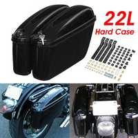 Pair Universal 22L Motorcycle Saddlebags Side Hard Trunk Case Tool Luggage Storage Suitcase For Honda/Yamaha/Suzuki