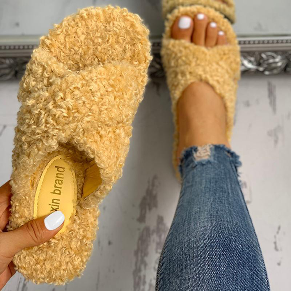 US $10.0 50% OFF|Women Slippers Solid Fluffy Crisscross Design Platform Fur Sole Luxury Mules Ladies Slides Party Sandals Zapatos De Mujer| |