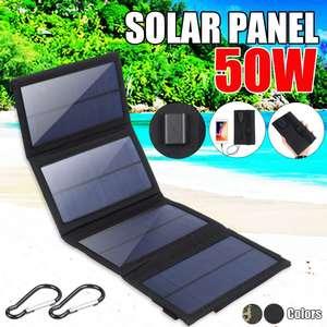 Image 1 - 50W מתקפל פנל סולארי 5V USB נייד מתקפל עמיד למים שמש פנל סולארי נייד מטען נייד כוח סוללה תשלום