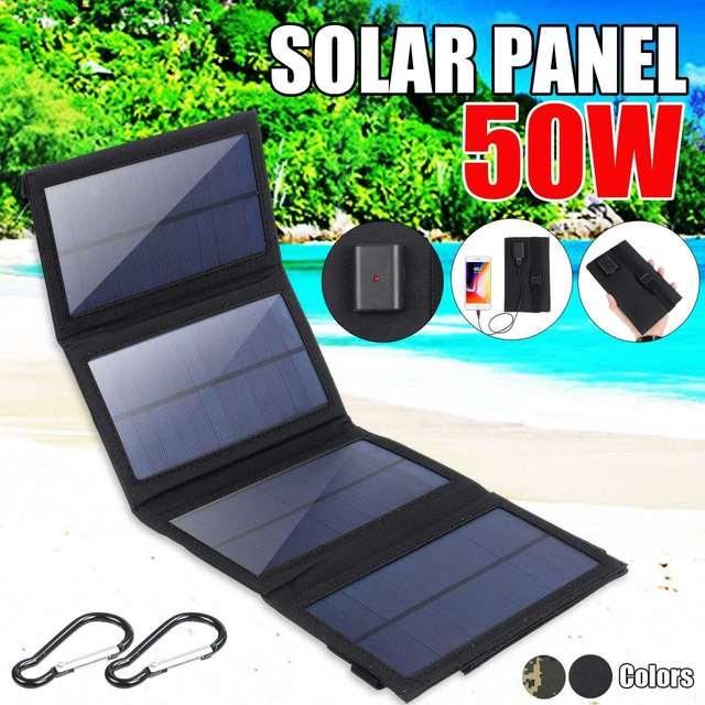 50W מתקפל פנל סולארי 5V USB נייד מתקפל עמיד למים שמש פנל סולארי נייד מטען נייד כוח סוללה תשלום