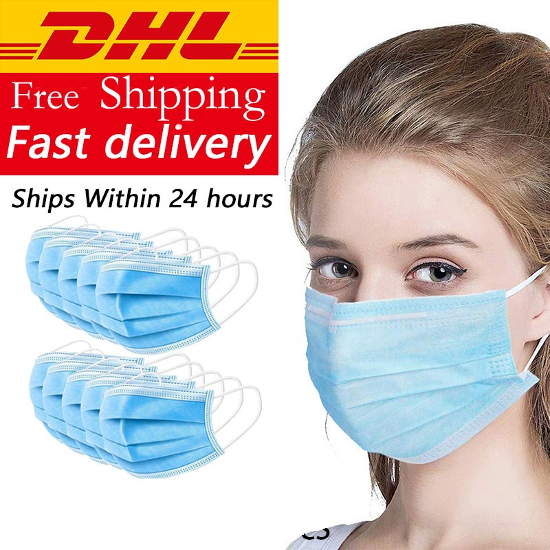 2500pcs DROPSHIPPING 3-plys Disposable Germ Mask Mouth Korean Blue Face Mask