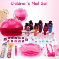 Child Nail Set Kids Cosmetics Toy Fun Nail Set With 6 Nail Polishes Cosmetics Makeup Toy Peelable Nail Polish Girl Makeup toy