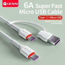 Genai 2 em 1 usb c para usb c cabo de carga rápida tipo c para tipo c cabo para telefone móvel pd 60w carregador para samsung huawei xiaomi