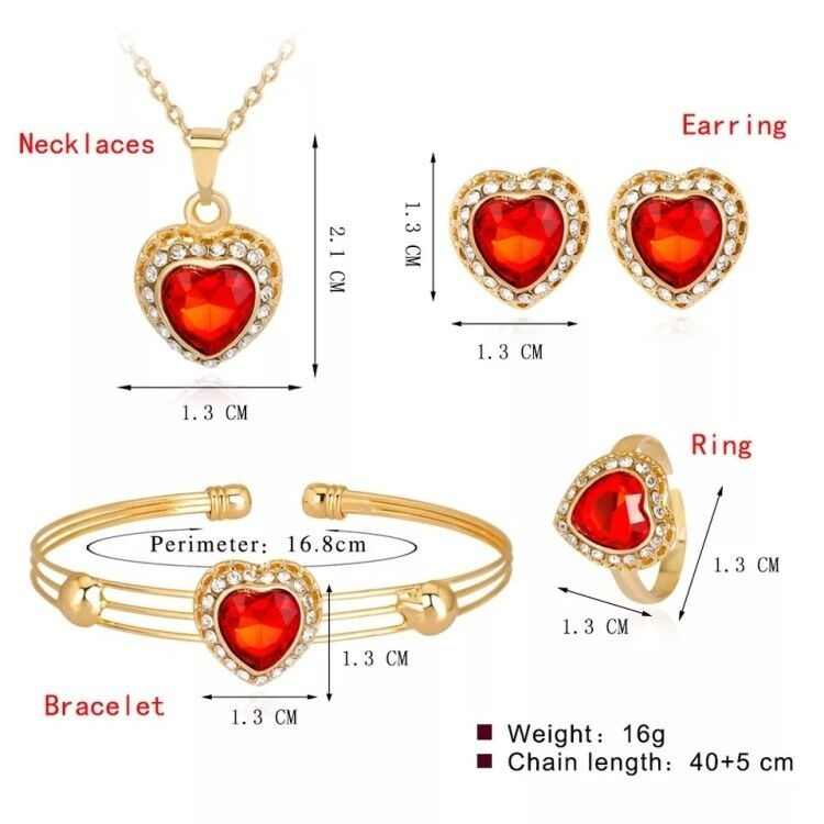 2019 New Cute Heart Shaped Necklace Earrings Sets Jewelry Crystal Kid Children Lovely Gold Color Jewelry Sets For Girl