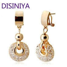 DISINIYA  Luxury Rose Gold Drop Earrings Champagne Wire Zircon Crystal Female Fashion Jewelry JSE019