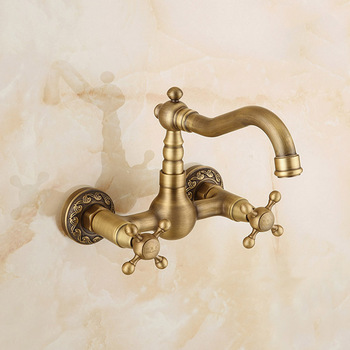 IMPEU Wall Mount Kitchen Faucet with Metal Cross Handle, Antique Bronze, Bathtub Faucet, Vanitry Sink Mixer, Desinger Collection