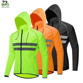 WOSAWE Thin Hooded Caps Reflective Running Jackets Windproof Water Rain Repellent Cycling Windbreaker Coat Bike Sports Jackets недорого