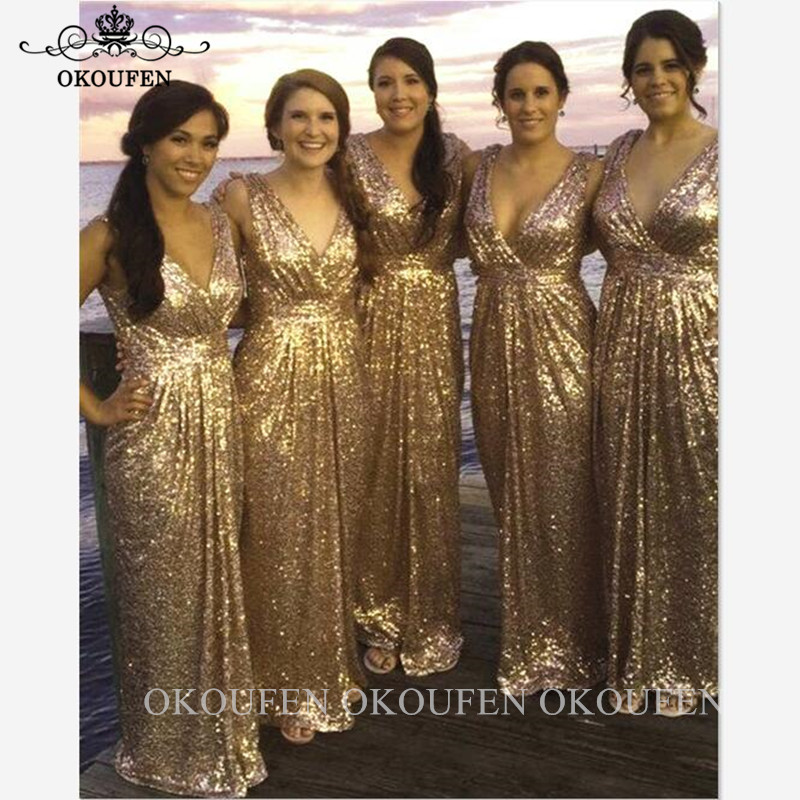 Brilliant Gold Sequined Bridesmaid Dresses Deep V Neck Sleeveless Long Mermaid Wedding Guest Dress Party For Women