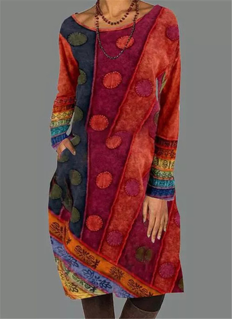 2021 Autumn Winter Women Loose Dots Pocket Vintage Printed Dress Full Long Sleeve Cotton Party Dresses Plus Sizes 1