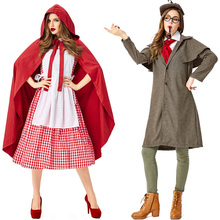 цена на adult red plaid cosplay Little Red Riding Hood Wolf Grandma Sherlock Holmes parent-child costume movie cosplay costume lovers