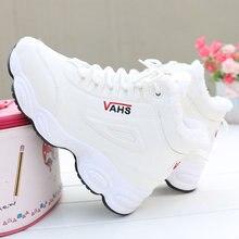 Alta superior sapatos de inverno mulher pele quente rendas tênis tenis feminino plataforma casual zapatos de mujer marca feminina buty damskie