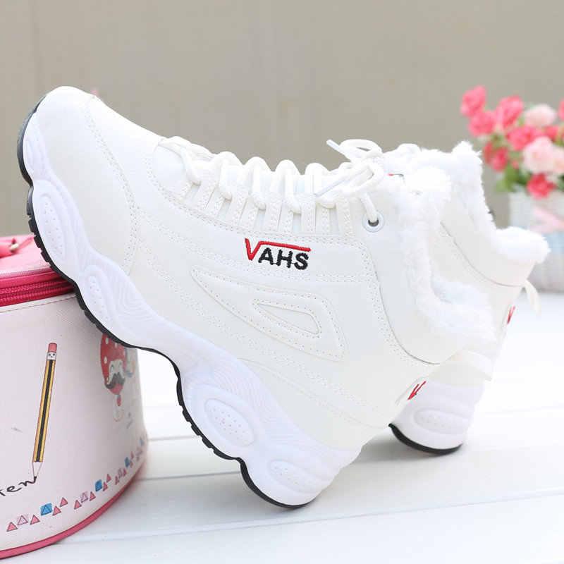 Yüksek top kış ayakkabı kadın kürk sıcak dantel-up Sneakers tenis feminino platformu rahat zapatos de mujer marka kadın erkek buty damskie