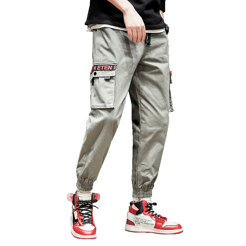 Cross Border For Casual Pants 2019 Spring Clothing New Style Solid Color Bib Overall Men's Velcro Beam Leg Multi-pockets Pants F