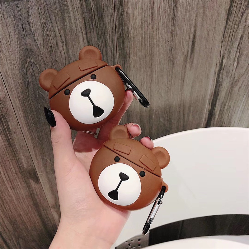 3D Cute Cartoon Teddy Bear Bluetooth Earpods Case For Apple Airpods1 2 Wireless Headphone Soft Silicone Case Cover With Keychain in Earphone Accessories from Consumer Electronics