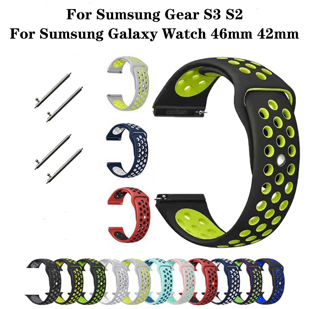 Double Color Smartwatch Strap For Samsung Galaxy Gear S2 S3 Sport Watch Band For  Frontier Classic42 46mm Amazfit Watch Strap