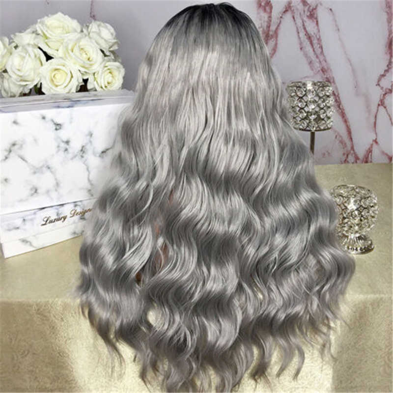 New Women S Long Curly Wavy Gray Hair Wig Natural Heat Resistant