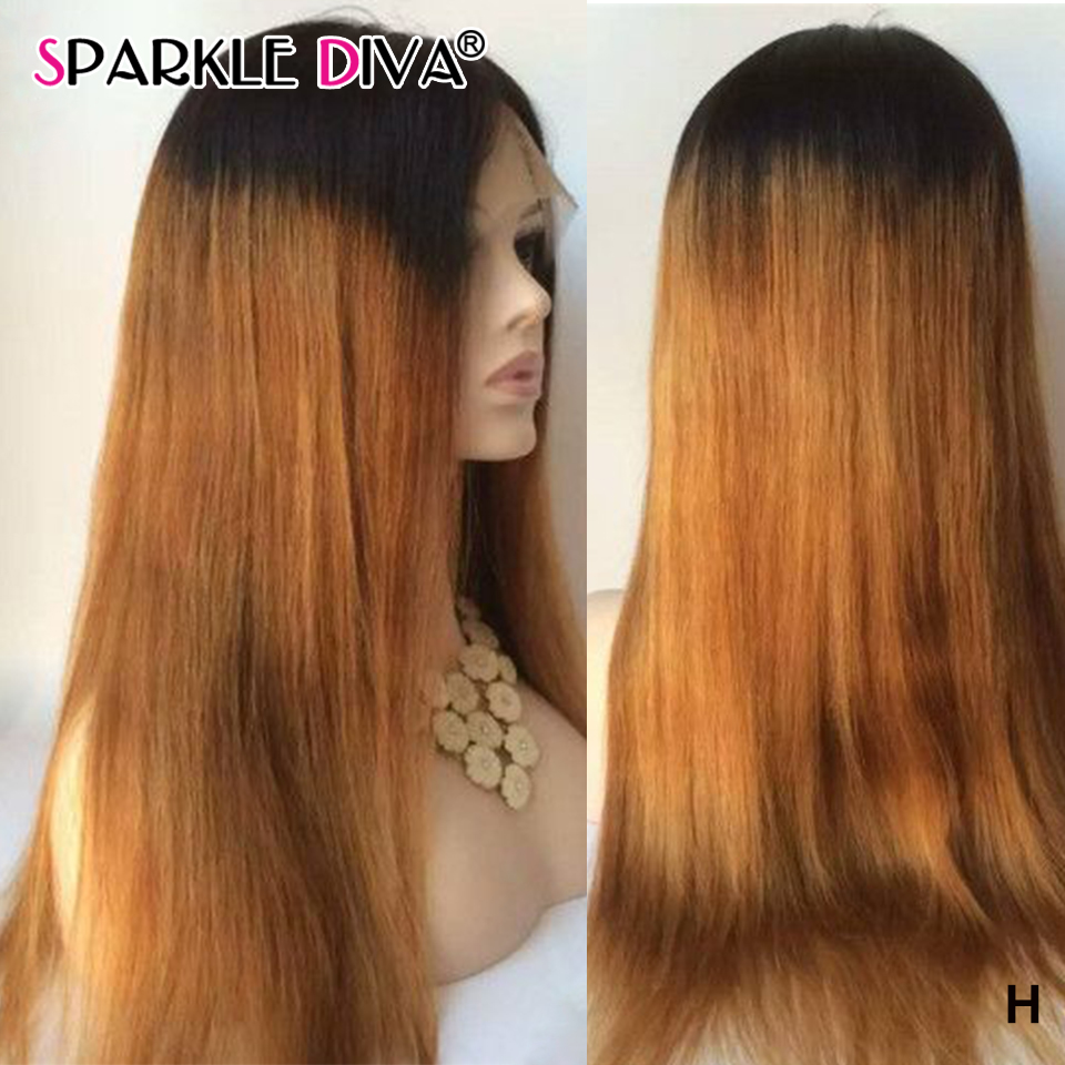 Straight Lace Front Wig Human Hair Wig Pre Plucked #T1B/27#27 Peruvian Remy Lace Front Wig 150% Human Hair Wigs For Black Women