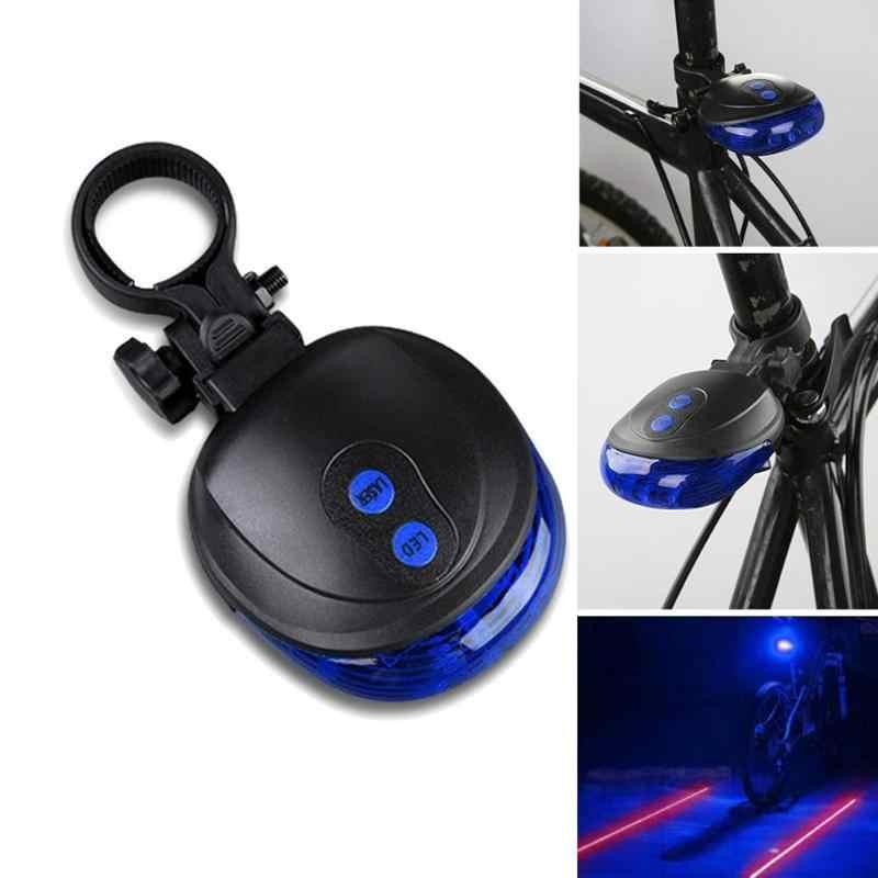 7 In 1 자전거 사이클링 테일 리어 라이트 안전 경고 램프 자전거 조명 5 LED 2 브래킷과 블루 레이저 빔