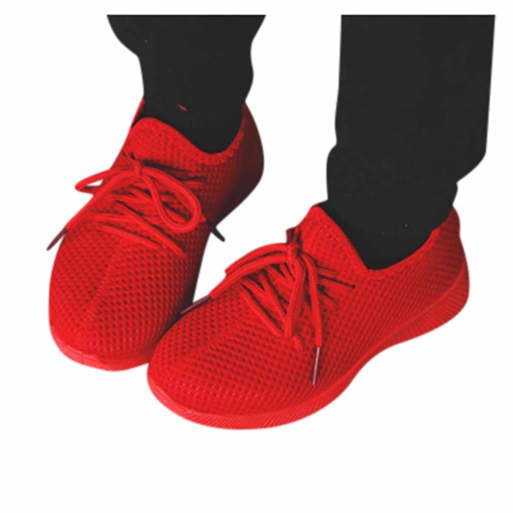 Kış yeni moda net nefes eğlence Düz Lace Up spor koşu ayakkabıları kızlar için Kış ayakkabı erkekler için marka çocuk ayakkabı
