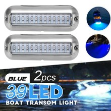 1 Pair Universal 4.7 Inch 316SS Cover 39 LED Underwater Pontoon Boat Transom Fishing Light (Blue)(China)