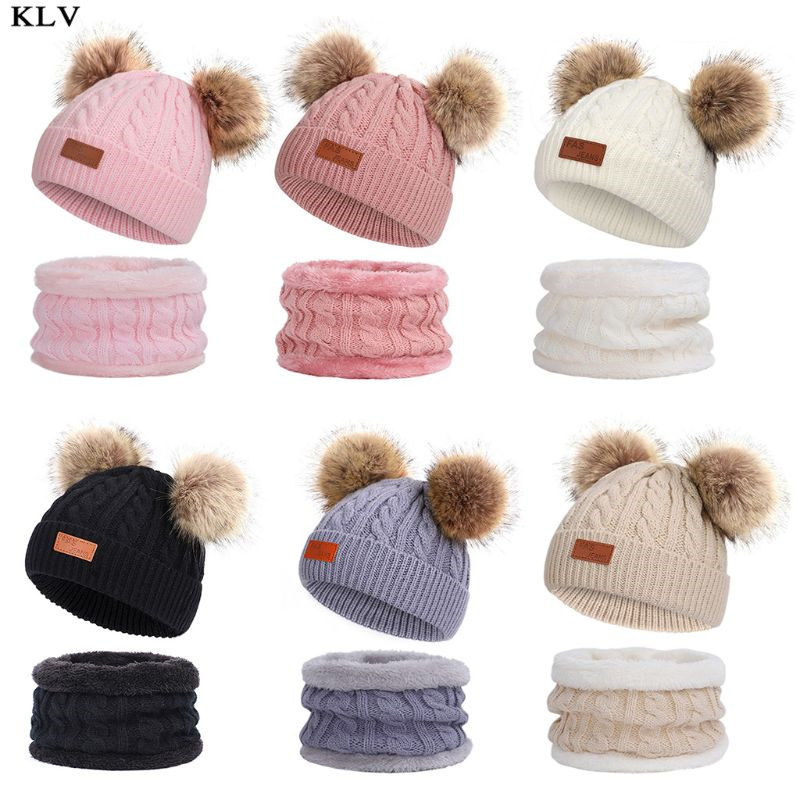 Kids Winter Beanie Hat Infinity Scarf Set Cute Fluffy Pompom Cap Neck Warmer