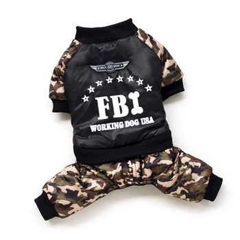 Cool FBI Pet Dog Clothes Overall Thickening Dogs Puppy Jumpsuit Costume Warm Winter Clothing for Small Gogs Ropa Para Perros hot pets dog hoodies puppy coats jackets for chihuahua maltese cat costume dogs clothes ropa para perros xs xxl clothing