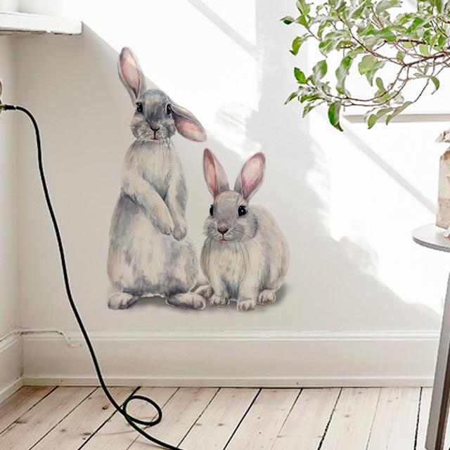 Dwa słodkie króliki naklejki ścienne dla dzieci dla dzieci pokój dekoracji wnętrz zdejmowane tapety salon mural do sypialni bunny naklejki