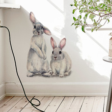 Two cute rabbits Wall sticker Childrens kids room home decoration removable wallpaper living room bedroom mural bunny stickers