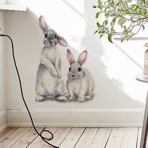 Image 1 - Two cute rabbits Wall sticker Childrens kids room home decoration removable wallpaper living room bedroom mural bunny stickers