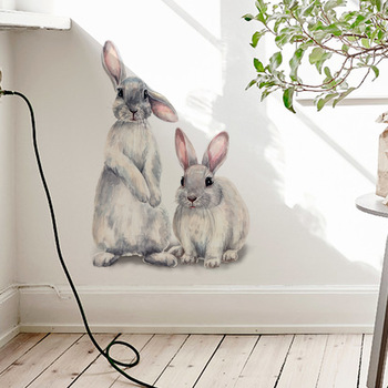 Two cute rabbits Wall sticker Children's kids room home decoration removable wallpaper living bedroom mural bunny stickers - discount item  23% OFF Home Decor
