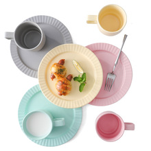 Youth Color Breakfast Tray Northern Europe Tableware Dumb Disc European-Style Simple Macarons Plate 8-Inch Ceramic Plates