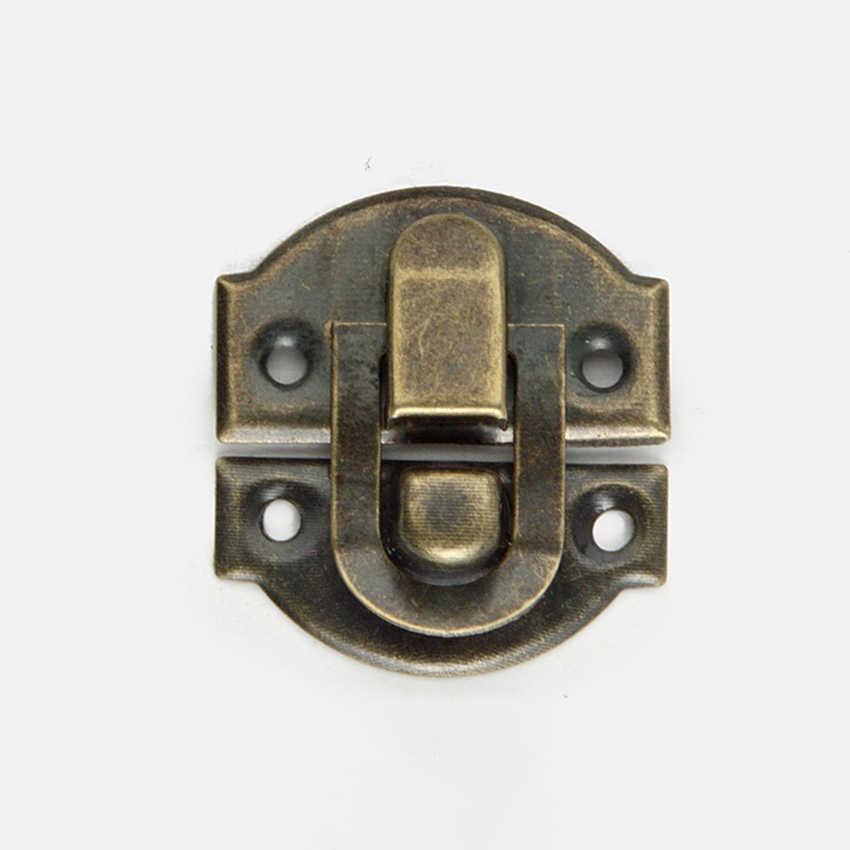 2 ピース/ロットアンティークブロンズ装飾掛け金ラッチバックル小さなジュエリー木製ワインボックス掛け金ラッチロックネジで、 27x29 ミリメートル