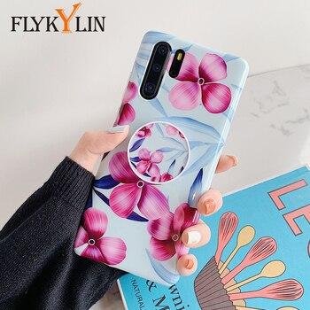 Funda de teléfono con soporte FLYKYLIN para Huawei Mate 30 Mate 20 P20 Lite P30 Pro, funda trasera Flor Retro, funda de carcasa suave de TPU