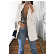 Blazer 5xl Long Women Ladies Femme Mujer Dames Casual Office White Bla