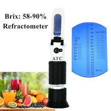 Yüksek konsantrasyon Brix 3 in 1 58% ~ 92% bal refraktometre arı şeker gıda su ATC ölçüm aracı perakende kutusu ile 40% kapalı