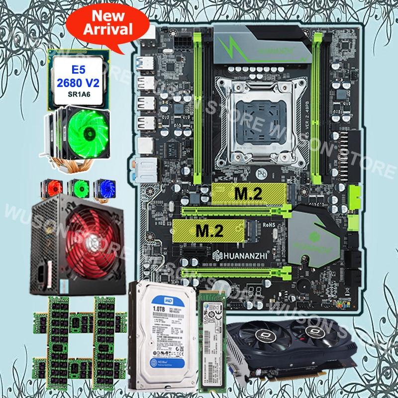 Brand HUANAN ZHI X79 Motherboard With M.2 128G SSD 1TB SATA HDD CPU Xeon E5 2680 V2 GPU GTX750Ti 2G 4*8G 1600 RECC 500Watt PSU