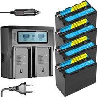 4pcs 7800mAH NP F970 NP F960 NP F960 F970 Camera Battery +Ultra 3X fast Quick Charger for Sony F930 F950 F770 F570 F970 CCD RV10