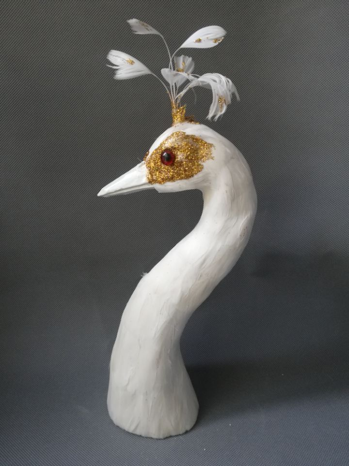 Belle simulation tête de paon modèle mousse & plume blanc tête de paon poupée environ 35cm