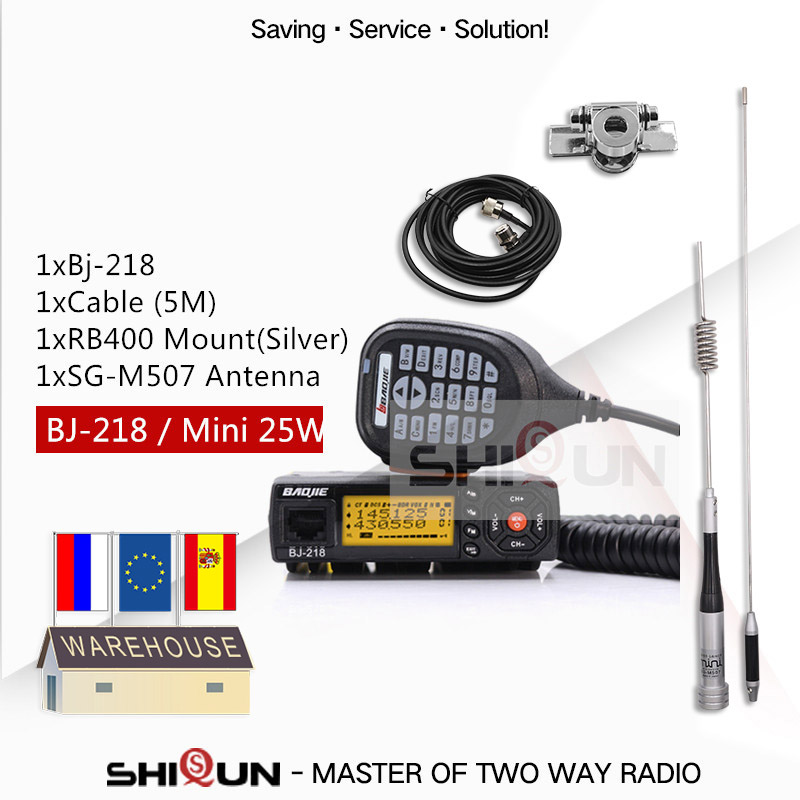 25W Mobile Car Walkie Talkie BJ-218 With Antenna SG-M507 Z218 UHF VHF Dual Band Mini Car Radio 10 KM Baojie BJ 218 Long Range