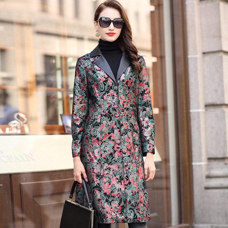 Genuine Leather Jacket Autumn Winter Jacket Women Real Sheepskin Coat Female Print Floral Korean Trench Coat HQ18-YXG8173A YY334