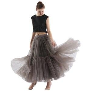 Image 2 - Treutoyeu Vintage Gothic Black White Pleated Long Tulle Skirt Tutu Femme High Waisted Runway Soft Mesh Skirts Womens 2020 Winter
