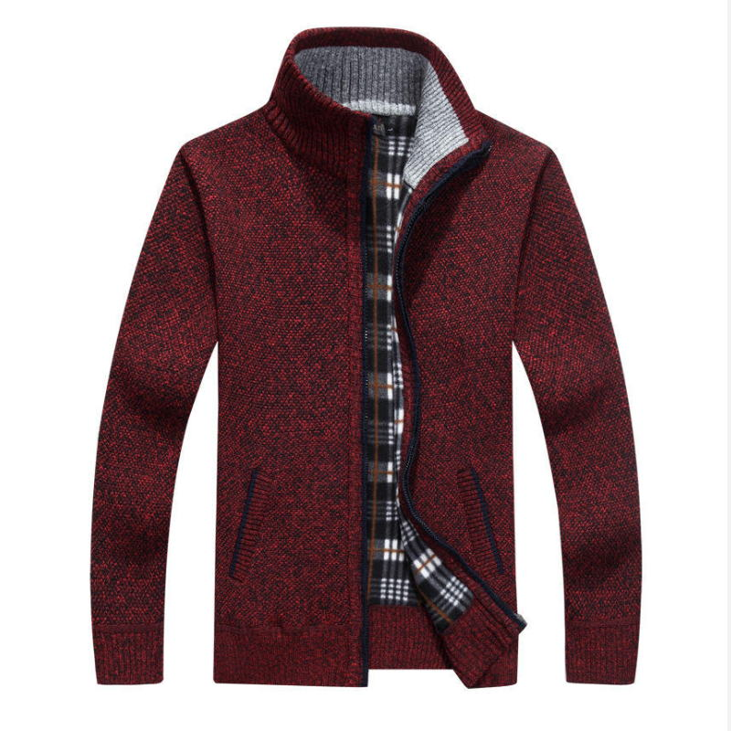2019 Autumn Men's Casual Long-sleeved Sweater Sleeves Thickening Plus Velvet Warm Trend Shirt Sweater Coat Large Size