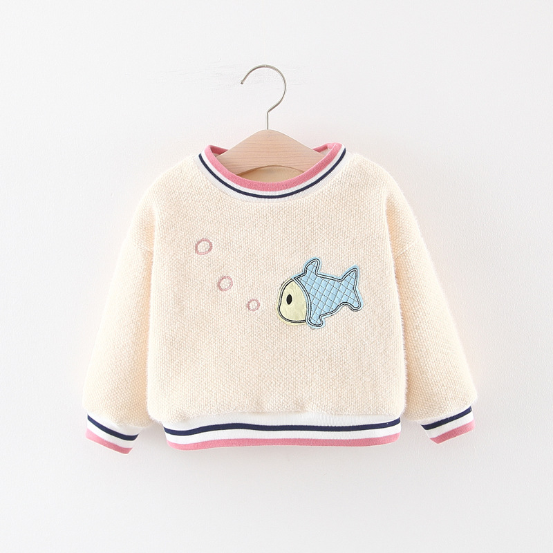 Girls Winter New Style Small Fish Wool Sweater Girls Brushed And Thick Infant Baby Cute Wool Sweater Base Shirt