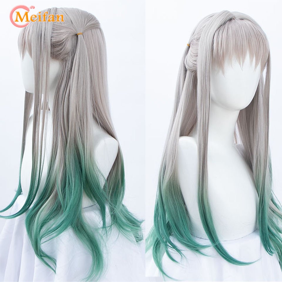 MEIFAN Lolita Long Straight Gray Ombre Green Cosplay Wig With Bangs Japan Amine Ombre Synthetic Cosplay Wig + Free Hair Net