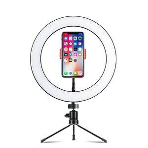 Image 5 - LED Selfie Ring Licht 26cm/16cm Kamera Foto Studio Licht Dimmbare Fotografie Füllen Lampe Für Live Video mit Stativ Telefon Halter