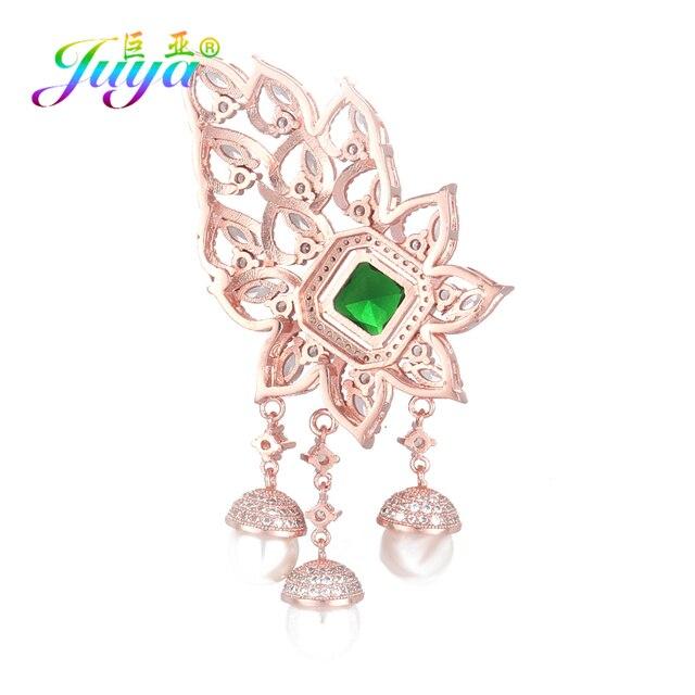 Juya bricolage vert Zircon flottant fleur connecteur pendentif accessoires pour luxe pierres précieuses naturelles perles soirée collier fabrication